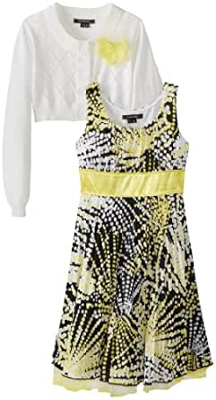 My Michelle Big Girls' Long Sleeve Cardigan Dress with Printed Pleated Skirt, Yellow, 7