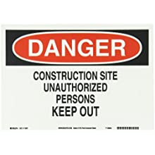 "Brady 116011 14"" Width x 10"" Height B-586 Paper, Red And Black On White Color Sustainable Safety Sign, Legend ""Danger Construction Site Unauthorized Persons Keep Out"""