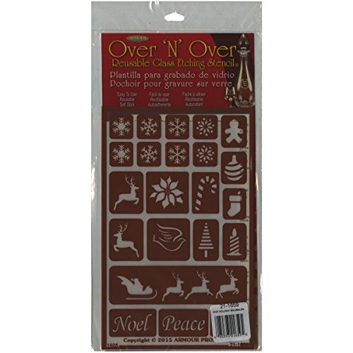 Armour Products Over N Over Glass Etching Stencil, 5-Inch by 8-Inch, Holiday Baubles (Glass Painting Stencils compare prices)