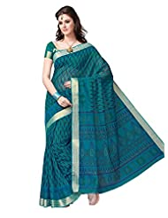 Jevi Prints Blue Gadwal Cotton Saree With Blouse Piece