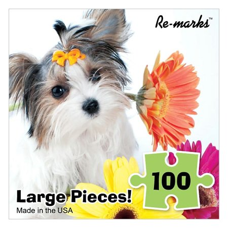 Jigsaw Puzzle 100 Pieces 10 inches x 10 inches Puppy with Daisy by Re-Marks