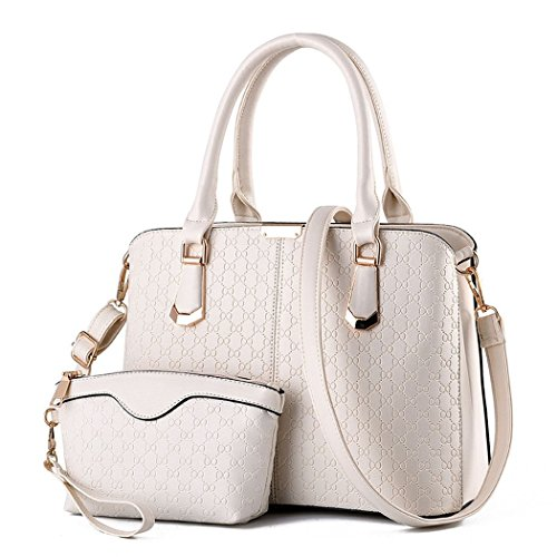 andee-womens-unique-fashionable-noble-2-in-1-leather-purse-large-handbag-shoulder-bagswhite