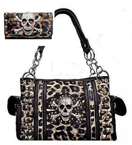 Brown Leopard Print Skull Concealed Purse W Matching Wallet