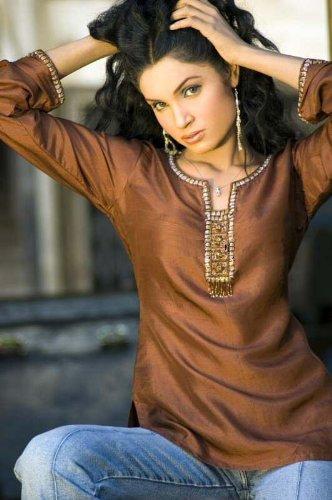 cotton silk 3/4th sleeve sequins work ladies tops / tunics / kurta kurti / blouses
