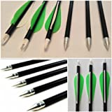 "12pcs GREEN Hunting Arrow Hunter Nocks Fletched Arrows Fiberglass Target Practice Arrow 32"""