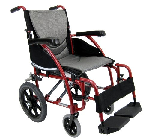 Karman Healthcare S-115-TP Ergonomic Ultra Lightweight Manual Wheelchair, Rose Red, 20 Inches Seat Width