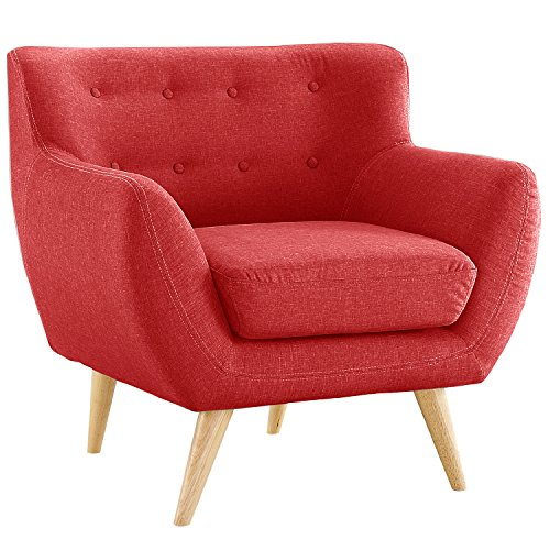Mid Century Modern Tufted Button Living Room Accent Chair (Red)