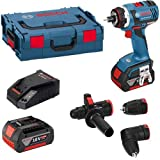 Bosch GSR18V-EC FC2 FlexiClick Drill 2 x 4.0Ah Battery ;TM79F-32M UGBA133103 (Color: Blue)
