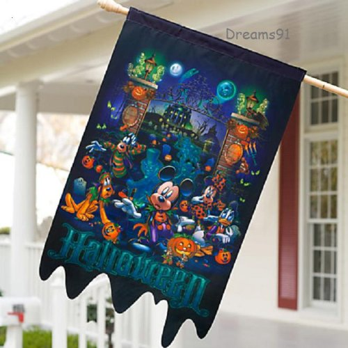 [Disney Park Mickey Mouse and Pal Halloween Yard Flag 25 x 41 NEW] (Disneyland Haunted Mansion Costume)