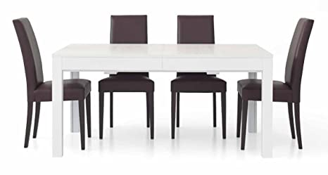 Table rectangulaire blanc frassinato avec 4allunghe de 43cm