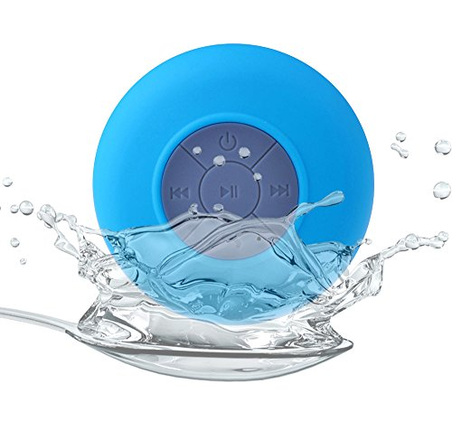 Allmet Waterproof Wireless Bluetooth Stereo Shower Speaker, Mini Ultra Portable Handsfree Speakerphone With Built-In Mic. Compatible With All Bluetooth Devices Iphone And All Android Devices (Blue)