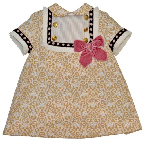 Kerubins Baby Girl Dress With Bow -12 Months-Camel, White front-1070719