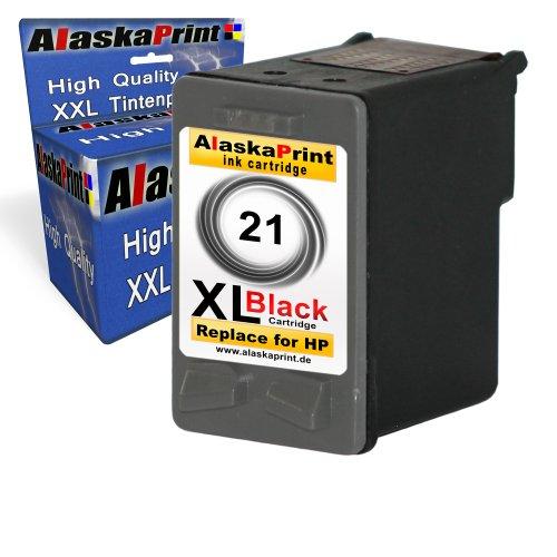 1 x Druckerpatrone Tintenpatrone Ersatz für Hp 21 XL Original alaskaprint Tinte Deskjet 3940V black 20ml Ersatz für Hp C9351A / C9351CE ( 21 xl , hp21xl), schwarz, bk Goldserie