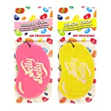 JELLY BELLY TWIN PACK 2D BEAN SWEETS SCENT CAR AIR FRESHENER - BUBBLE GUM + LEMON DROP