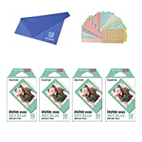 Fujifilm Instax Mini Instant Film SKY BLUE FRAME 4-PACK BUNDLE SET , Film SKY BLUE Frame ( 10 x 4 ) + Original Cleaning Cloth + Stickers 20 pcs. for Mini 90 8 70 7s 50s 25 300 Camera SP-1 Printer