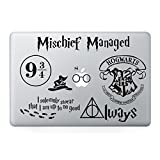 Harry Potter Decal Set - Apple Macbook Laptop Vinyl Sticker Decal (Pack of 7) (Color: white)