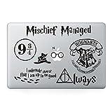 Harry Potter Decal Set - Apple Macbook Laptop Vinyl Sticker Decal (Pack of 7) (Color: Black)