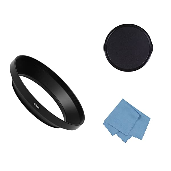 SIOTI Camera Wide Angle Metal Lens Hood with Cleaning Cloth and Lens Cap Compatible with Leica/Fuji/Nikon/Canon/Samsung Standard Thread Lens(82mm) (Color: Wide Angle, Tamaño: 82mm)