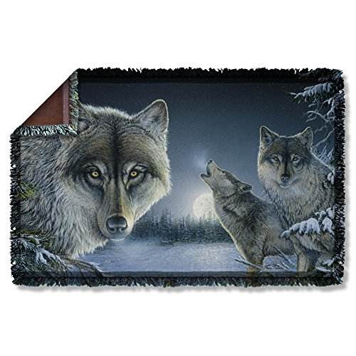 Wild Wings Midnight Wolves Woven Throw WW384TAP