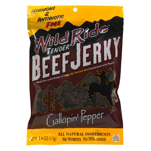 Buy Wild Ride All-Natural Beef Jerky, Gallopin Pepper, Hormone & Antibiotic Free, 4 Ounce Bag (Pack of 6) (Wild Ride, Health & Personal Care, Products, Food & Snacks, Meat & Seafood, Jerky)