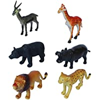 Wild Zoo Forest Animals Plastic Toy Set - Pack Of 6 - 1c186 - Educational & Decorative Toys For Kids
