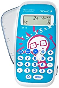 Genie BT11 Rechentrainer - Lernspiel, Mathe lernen durch ca. 300.000 Aufgaben, inklusive Taschenrechner-Funktion und Schutzdeckel