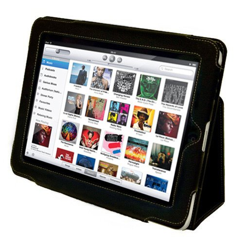 Snugg Leather Case Cover and Flip Stand for the Apple iPad 1 - Black