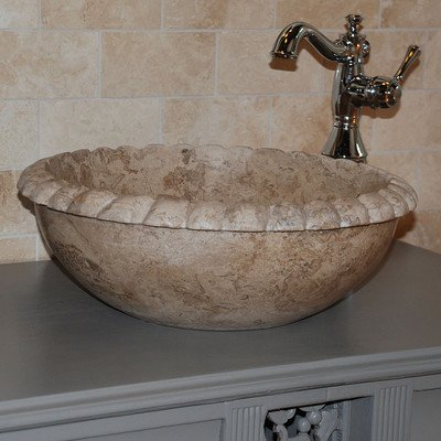 Rope Natural Stone Vessel Bathroom Sink Sink Finish: Afyon Noce