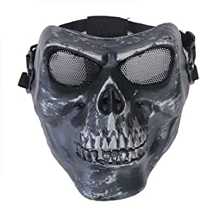 Airsoft Skeleton Ghost Skull Full Face Protector Mask / Paintball, Game or Scenario Mask--Foam Padded inside for Comfortable Wearing, Metal Mesh Goggle Will Never Fog up in the Game from SuntekStore Online