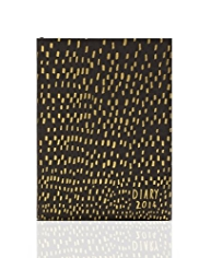 Black & Gold Foil A6+ Week to View 2014 Diary