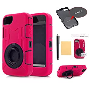 TIANLI(TM) Deluxe Hard Soft High Impact Hybrid Armor Defender Case Combo For Apple iphone 4 4S 4G+[Screen Protector]+[Free Stylus]+[Cleaning Cloth] Hot Pink A1 from TIANLI LTD.