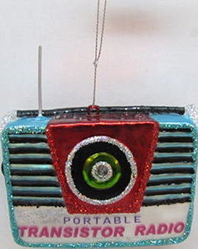 December Diamonds 60's & 70's Retro Transistor Radio Ornament. Hand Painted Blown Glass Ornament. Perfect Gift for the Baby Boomer Music Lover in Your Life!