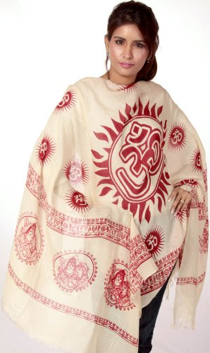 Exotic India Beige Sanatana Dharma Prayer Shawl with Large Printed Om – Beige