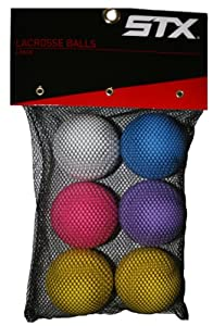 STX Lacrosse Balls in Mesh Bag (Pack of 6), Assorted Colors by STX
