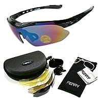 (フェリー) FERRY 偏光 レンズ スポーツ サングラス フルセット 専用交換レンズ5枚 ユニセックス 4カラー
