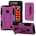 CellJoy® Nokia Lumia 520 (WILL NOT FIT LUMIA 521) Hard Case Protective Cover Skin [Future Armor] Ultra Fit Dual Protection Cover with Belt Clip Holster For Lumia 520 [Retail Packaged] (Purple / Black)