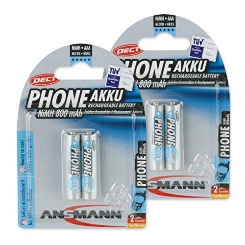 Ansmann Maxe DECT Micro 4x AAA type de batterie 800 mAh autodécharge faible Phone Batterie pour téléphones sans fil (4 Pack)