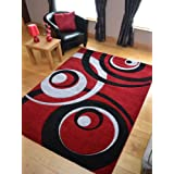 Vibe Modern Red Black And Silver Circles Quality Hand Carved Rugs. Available in 4 Sizes (160cm x 220cm)