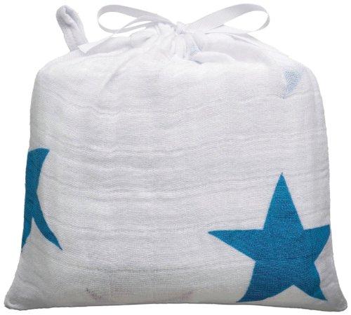 aden + anais (エイデンアンドアネイ) 【日本正規品】 モスリンコットン おくるみ 1枚 brilliant blue stars wrap-9009