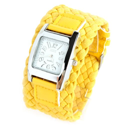 Yesurprise Lady Weave Fashion Wide Band Quartz Watch Yellow