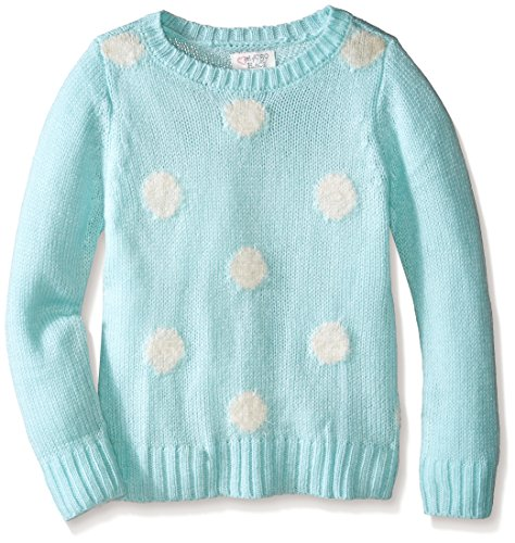 The Children's Place Girls' Polka Dot Sweater, Crystal Mint, Small/5-6