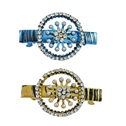 AAKSHI Pearl Princess, Diamond Daughter Aquamarine blue and Citrine tones Set of 2 Hair Clips
