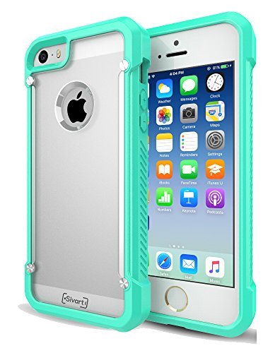 iPhone 5 / 5S / 5SE Case, Sivart Apple Case Shock-Absorption Bumper Anti Scratch Clear Back Ultra Thin Phone Case for iPhone 5S 4 Inch (Mint) (Cool Iphone 4s Back Glass compare prices)