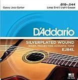 D\'Addario Cordes pour guitare acoustique jazz manouche D\'Addario EJ84L, extrémité à boucle, Light, 10-44