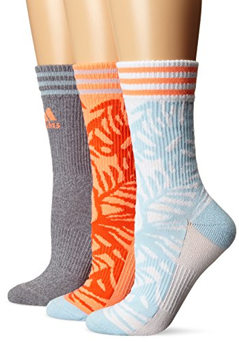 Adidas Women's Cushioned Crew Socks (3 Pack), White/Ice Blue/Sun Glow/Grey Clear Onix Marl, One Size