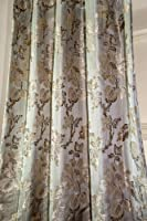 Isabella Gold Satin embossed faux silk curtain panel