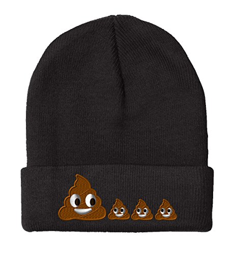 POO POOP FAMILY EMOJI, Fine Finished Embroidery Beanie