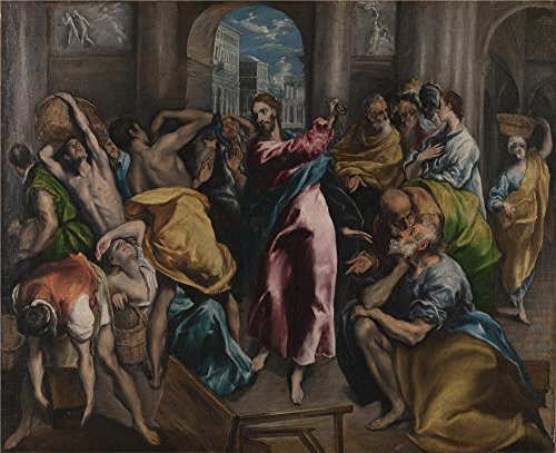 The Polyster Canvas Of Oil Painting 'El Greco Christ Driving The Traders From The Temple ' ,size: 8 X 10 Inch / 20 X 25 Cm ,this Cheap But High Quality Art Decorative Art Decorative Canvas Prints Is Fit For Game Room Artwork And Home Gallery Art And Gifts