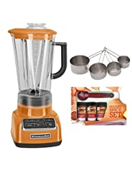 KitchenAid KSB1575TG Diamond Vortex 5-Speed Blender in Tangerine w Update International Heavy-Duty Stainless Measuring Cup Set & Kamenstein... by KitchenAid