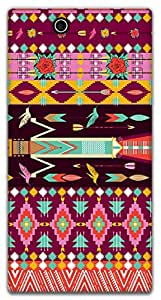 The Racoon Lean printed designer hard back mobile phone case cover for Sony Xperia Z Ultra. (Pink Aztec)